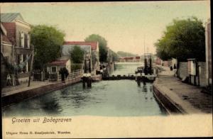 Ak Bodegraven Südholland, Wasserpartie, Schleuse