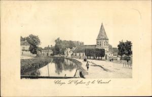 Ak Claye Souilly Seine et Marne, L'Eglise at le Canal