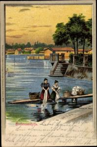 Litho Bodenseeidylle, Wäscherinnen auf dem Steg