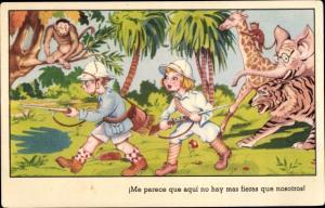 Künstler Ak Me parece que acqui no hay mas fieras que nosotros, Tiger, Elefant, Giraffe, Affen