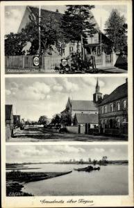 Ak Greudnitz Dommitzsch Elbe Nordsachsen Sachsen, Dorfstraße, Elbfähre, Kolonialwarenhandlung