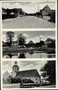 Ak Roitzsch Trossin Dahlenberg in der Dübener Heide, Straßenpartie, Kirche