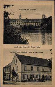 Ak Trossin Dahlenberg in der Dübener Heide, Gutshaus, Dorfteich, Gasthof zur Erholung