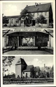 Ak Elsnig Sachsen, Saal, Kirche, Gasthof