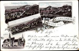 Litho Blankenburg am Harz, Schloss, Rathaus, Panorama