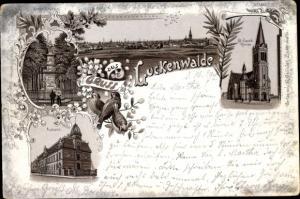 Litho Luckenwalde in Brandenburg, Postamt, St. Jacobi Kirche, Kriegerdenkmal