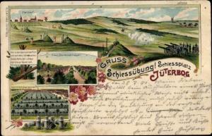 Litho Jüterbog in Brandenburg, Schießübung, Schießplatz, Kanonen, Keule, Wellblechbaracken,