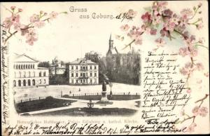 Ak Coburg in Oberfranken, Herzogl. Hoftheater, Palais Edinburg, Kath. Kirche