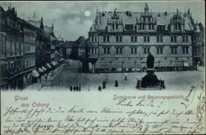 Mondschein Ak Coburg in Oberfranken, Spitalgasse, Regierungsgebäude