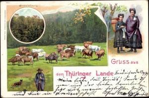 Litho Brotterode Trusetal in Thüringen, Inselsberg, Kuhweide, Trachten