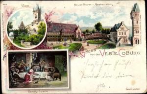 Litho Coburg in Oberfranken, Veste, Neuer Turm, Restauration, Bärenszene