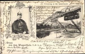 Ak Wuppertal in Nordrhein Westfalen, Schwebebahn, Kaiser Wilhelm II.