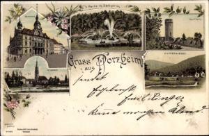 Litho Pforzheim im Schwarzwald, Rathaus, Stadtgarten, Wartturm, Kupferhammer