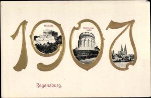 Ak Regensburg an der Donau Oberpfalz, Glückwunsch Neujahr, Walhalla, Befreiungshalle, 1907