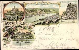 Litho Sankt Goar am Rhein, Burg Reichenberg, Rheinfels, Loreley