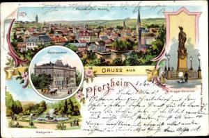 Litho Pforzheim im Schwarzwald, Reichspostamt, Kriegerdenkmal, Gesamtansicht