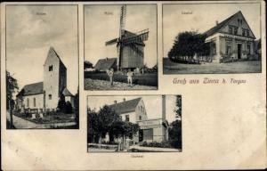 Ak Zinna Torgau in Nordsachsen, Gasthof, Mühle, Bäckerei, Kirche