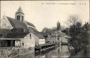 Ak Corbeil Essonnes Évry Essonne, L'Essonnes et l'Eglise