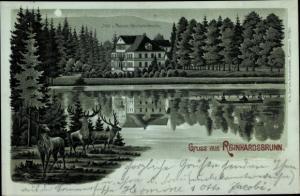 Mondschein Litho Reinhardsbrunn Friedrichroda im Thüringer Wald, Hotel und Pension Reinhardsbrunn