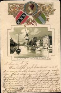 Präge Wappen Litho Coolvest Rotterdam Südholland Niederlande, Windmühle, Stadtansicht, Königin