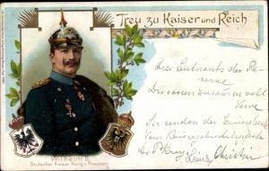 Präge Litho Kaiser Wilhelm II., Treu zu Kaiser und Reich