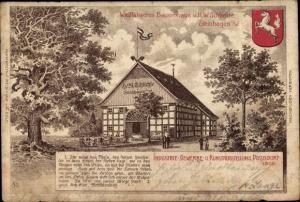 Künstler Ak Düsseldorf am Rhein, Industrie und Gewerbeausstellung 1902, Westfälisches Bauernhaus