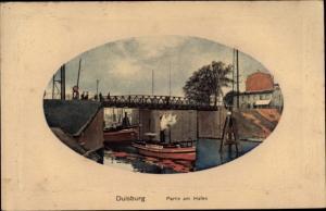 Präge Passepartout Ak Duisburg im Ruhrgebiet, Hafenpartie