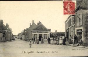 Ak Soings en Sologne Loir et Cher, La Place, Café, Tabac