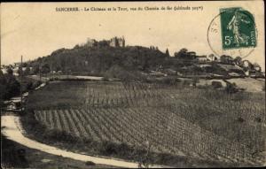 Ak Sancerre Cher, Le Chateau et la Tour, vus du Chemin de fer