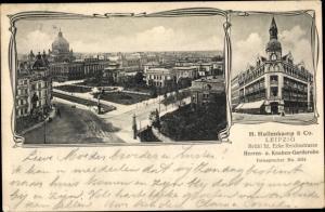 Ak Leipzig in Sachsen, Parkpartie, H. Hopllenkamp & Co., Brühl 32, Ecke Reichsstraße