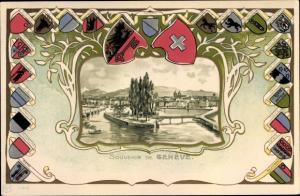 Wappen Passepartout Künstler Ak Genève Genf Schweiz, Panorama, Wappen Kantone