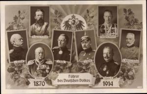 Ak Führer des Deutschen Volkes, Wilhelm II, Moltke, Bismarck, Kronprinz