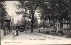 Ak Genève Genf Stadt, Plateau de Champel, Straßenbahn