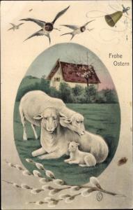 Ak Glückwunsch Ostern, Schafe, Lamm, Glocke, Weidenkätzchen, Schwalben