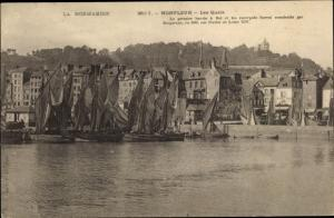 Ak Honfleur Calvados, Les Quais, Hafen, Segelboote