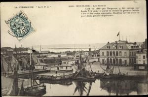 Ak Honfleur Calvados, Les Bassins, Hafenpartie, Segelboote