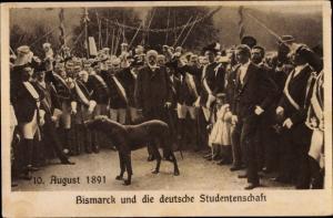 Studentika Ak Otto von Bismarck und die deutsche Studentenschaft, 10. August 1891, Fechter, Schärpen