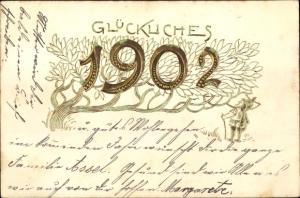 Präge Litho Glückwunsch Neujahr, Jahreszahl 1902, Zwerg