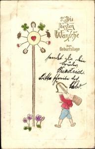 Präge Litho Glückwunsch Geburtstag, Zwerg mit Armbrust, Kleeblätter, Hufeisen, Herz