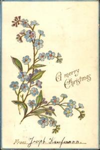 Präge Litho Glückwunsch Weihnachten, Vergissmeinnicht
