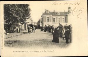 Ak Rambouillet Yvelines, Le Marché et la Rue Nationale