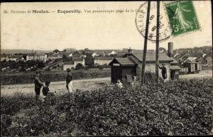 Ak Ecquevilly Yvelines, Vue Panoramique, La Gare