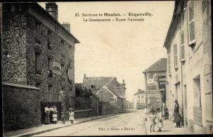 Ak Ecquevilly Yvelines, La Gendarmerie, Route Nationale