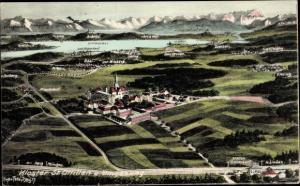 Landkarten Ak Felle, Eugen, Eresing in Oberbayern, Erzabtei Sankt Ottilien, Andechs, Zugspitze