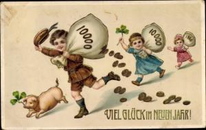 Litho Glückwunsch Neujahr, Kinder, Geldsäcke, Schwein, Kleeblätter