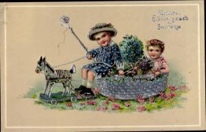 Präge Litho Glückwunsch Geburtstag, Kinder, Blumen, Schaukelpferd