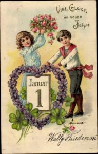 Präge Litho Glückwunsch Neujahr, Junge, Mädchen, Kalenderblatt 1 Januar, Kleeblätter, Veilchen