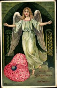 Litho Glückwunsch Konfirmation, Engel, Glocke