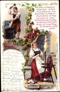 Künstler Ak Frau am Spinnrad, Schmied, Amboss