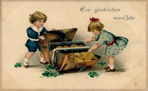 Litho Glückwunsch Neujahr, Junge, Mädchen, Portemonnaie, Kleeblätter, Münzen
